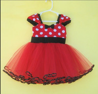 Wholesale Wholesale Clothe Ribbon - Dots Minnie Mickey Dresses Summer Girls Dress Baby Girl Vest Dresses Girls Net Yarn Princess Skirt Girl TuTu Dress Baby Clothes