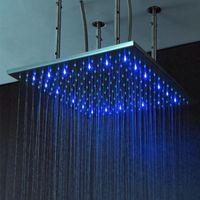многоцветная душевая головка оптовых-Аксессуары для ванной комнаты 24 дюйма 600x600 осадков LED насадки для душа Multi изменение цвета автоматический потолок дождь спрей душ со светодиодной подсветкой