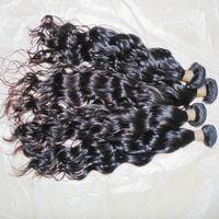vente de cheveux ondulés achat en gros de-4pcs / lot 8A Cheveux vierges indiens bruts Eau Ondulée Naturelle Noir Couleur 100% Bundles de Tissage Humain 10-28 pouce GRAND Vente