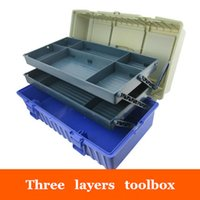 Wholesale Hardware Materials - Wholesale- 17-inch Multi-function PP Material Three Layers Toolbox Household Storage Box Instruments Toy Hardware Tool boxes