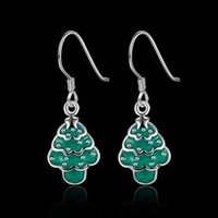 Wholesale Cheap Xmas Trees - Christmas Tree Design Women Hanging Earrings Stud Earring Female Party Jewelry Xmas Gifts For Girls Silver earrings Wholesale Cheap XM-003