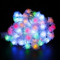 Wholesale Christmas Plug Nightlights - Wholesale-4M-9M 20-70Leds Rose LED String Lighting nightlight Flower EU Plug Party Wedding Christmas Fairy Decor Changeble Warm white LH