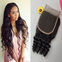Wholesale Handtied Brazilian Hair - 4*4 Lace Closure 8A Brazilian Virgin Human Hair Handtied silk closure Body Wave Straight Top Lace with bleach knots Free Shipping