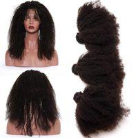 bakire kıvırcık afro örgü toptan satış-Ön Koparıp 360 Dantel Frontal Kapatma Uzantıları Ile Afro Kinky Kıvırcık Virgin Saç Brezilyalı 360 Tam Dantel Frontal Ile 3 Adet Örgüleri