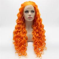 langes lockiges haarperücke orange großhandel-Iwona Hair Curly Long Orange Perücke 18 # 3200 Half Hand gebunden Hitzebeständige synthetische Lace Front Perücke
