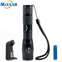 Wholesale Power Drive Chargers - CREE XM-L T6 4000LM High Power LED Torches 5 Mode Zoomable Tactical LED Flashlights Torch Light with 18650 Battery and Charger