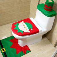 Wholesale White Bathroom Rug Set - 3 Three Pieces Suit Christmas Toilet Seat Cover And Toilet Lid Rug Bathroom Set Xmas Home Decor Santa Claus Snowman Ornament MC17