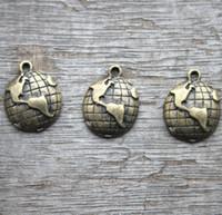 Wholesale Earth Charms - 20pcs--Globe Charms, Antique Bronze Lovely Mini Globe Charm Pendants,Earth Pendants 15x18mm