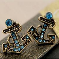 Wholesale Cheap Anchor Earrings - Vintage Anchor Stud Earrings Blue Rhinestone Sailors Set Auger Anchor Stud Pendientes Zinc Alloy Cheap Stud Brincos