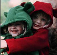 suéteres lindos del niño al por mayor-INS de dibujos animados oreja grande de algodón polar párrafo largo niños suéter abrigo bebé niños outwear lindo poncho para niñas niños bebés niño pequeño