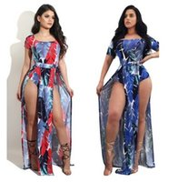 Mujeres Hoja Imprimir Jumpsuit Vestido Pies Abierto Floral Beach Casual Holiday Jumpsuit Romper Doble Lado Split Clubwear Sexy Bodycon Party Playsuit