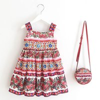 Wholesale Beach Bags Natural - 2017 Summer New Retro Style Flower Parrot Girl Dresses with Bag Sleeveless Cotton Beach Dress Children Clothing 2-7T 8190