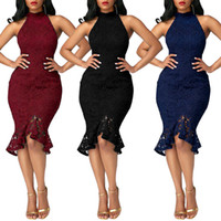 Wholesale Casual Dress Tail - Quality Suit-dress European Fashion Fish Tail Full maxi women Dress long sleeves Lace Split Joint Solid Color dresses for