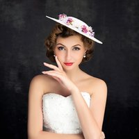 Wholesale hot pink wedding hat - Hot Sale 2017 Vintage Wedding Hat Fascinator Bridal Hats Berets Wedding Headpiece Headwear Wedding tiaraheadwear of bride grenadine Pink