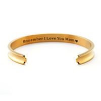 """Wholesale Cheap Stainless Steel Letters - """" Remember I Love You Mom """" 2017 classic fashion round simple price cheap gift jewelry bracelet YP3124"""