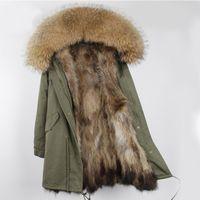 Wholesale Fur Collars - women Furs Long parkas with Natural Raccoon fur liner oversized fur collar cold winter warm coats