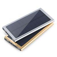 fuente de alimentación del teléfono portátil al por mayor-Tipo de libro 20000mAh Banco de energía solar portátil Fuente de alimentación de batería de fuente de alimentación de respaldo de Powerbank ultrafina Cargador de energía para teléfonos inteligentes