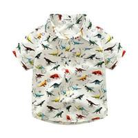 Wholesale Wholesale Kids Clothing Europe - Hug Me Boys Dinosaur T-shirt Kids Clothing 2017 Summer Print Top Europe and America Fashion Short Sleeve Top DR-328