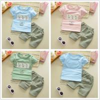 Wholesale Child Abc - Summer Kids Clothing Boys Short Sleeve Kids ABC Letter 2 PCS Clothing 100% cotton children clothing sets