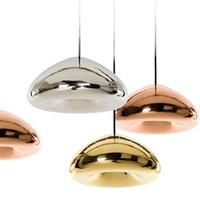 ingrosso lampadario in ottone di vetro-Tom Dixon Rame Void Brass Bowl Vetro specchio Bar Arte Moderna E27 Lampada a sospensione LED appeso filo luci lampadario illuminazione