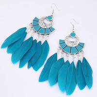 Wholesale wholesale white feather accessories for sale - Bohemia National Vintage Retro Geometric Sector Feather Pendants Statement Drop Dangle Earrings Charm Fashion Accessories Jewelry For Women