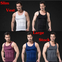 Wholesale Mens Vest Tank Tops - Mens Slimming Body Shaper Vest Shirt Tank Top Men's Tummy Waist Vest Lose Weight Shirt Slim Compression Muscle Tank Shapewear CCA6347 100pcs