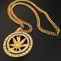 Hiphop Cool Collares Club Party Jóias para homens Folhas Full Diamond Pendant Chains Luxury Hip Hop Accessories Wholesale