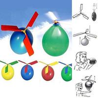 balon gemisi toptan satış-50 adet / grup uçan Balon Helikopter DIY balon uçak Oyuncak çocuk Oyuncak kendinden kombine Balon Helikopter Düdük ücretsiz kargo