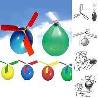 brinquedo de balão venda por atacado-50 pçs / lote voando Balão Helicóptero DIY balão de brinquedo Brinquedo das crianças Brinquedo Auto-combinado Balão Helicóptero Apito frete grátis