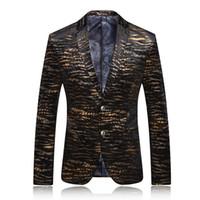 Wholesale Velour Suits For Men - Wholesale- Original Design Mens Bronzing Golden Tuxedo Suit Blazer Masculino for Party Wedding 2016 Quality Fashion Veste Co stume Homme