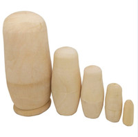 Wholesale Wooden Doll Set - Blank DIY Unpainted Wooden Embryo Nesting Dolls Matryoshka Toy Make Your Own Doll Set of 5Pcs Craft Decoration