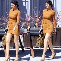 Wholesale Women S Winter Dress Tights - Long Sleeve Slim Party Dress Sexy Club Brown Vestido Women Winter Dresses Kylie Jenner Skin Tight Faux Suede Bodycon Dress