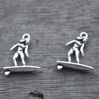 conselho de charme venda por atacado-25 pcs-Surfer Charms, Pingentes de charme Surf Tone prata Tibetan antigo, Prancha de surf, Encantos colar 19x21mm