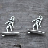 25pcs - Charms Surfer, antichi pendenti con charme in argento tibetano tascabile, tavola da surf, charms collana 19x21mm