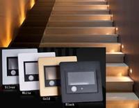 kızılötesi pir sensör led ışıklar lamba toptan satış-Pir motion dedektör + ışık sensörü kurşun dekorasyon ışık merdiven led kızılötesi insan vücudu indüksiyon adımları ışık kurşun duvar lambası 86 kutu