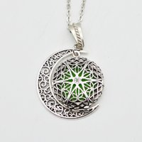 Wholesale Essential Oil Round Diffuser - Wholesale-Round Fligree Locket With Moon Charm Pendant Essential Oil Diffuser Necklace Aromatherapy Locket Jewelry For Women Gifts