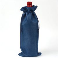 Deep Blue blu wedding - Deep Blu Double layer high quanlity natural linen drawstring bags jute burlap Gift Pouch package hessian wine bottle sack Wedding Decoration