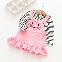 Wholesale Stripe Girls Set - Everweekend Girls Stripes Tees with Cat Embroidered Dress 2pcs Sets Lovely Kids Ruffles Button Pocket Autumn Outfits