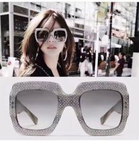 Wholesale Rhinestone Cat Glasses - Fashion Inspired 0048s Oversized Rhinestone Square Frame Sunglasses Women Fashion Designer Sunglasses New with Box