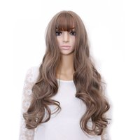 Wholesale Long Air Wigs - Hair 26'' Long Wavy Wig Aoki Grey Synthetic Wigs For Black Women Heat Resistant Hair Wig With Air Bangs