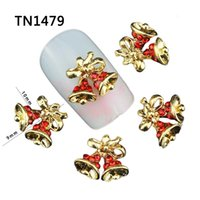 Wholesale 3d Christmas Nail Art Designs - Wholesale- Blueness 10Pcs Christmas Bells Design Manicure Tips Glitter Gold Alloy Red Rhinestones For Charms 3D Nail Art Decorations TN1479