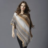 Wholesale Large Knit Scarf - Striped Winter Woman Shawls fashion new Large size mid long Pullovers Loose Batwing Sleeve Scarf Collar Striped knitted Women Sweater 77