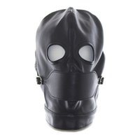Wholesale Bandage Sex Games - 2017 Faux Leather Hood Feish Mask With Open Mouth Gag Adult Toys for Sex Game,Erotic Positioning Bandage Hood Sex Products