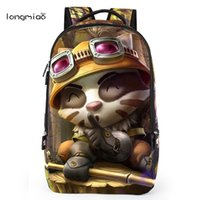 Wholesale League Legends Gold - Wholesale- Longmiao Brand 2016 New League of Legends Game Unisex Teenagers' Cartoon LOL Man Backpack High Quality Rucksack Boy Schoolbag