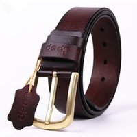 Wholesale High Quality Pure Copper - Solid copper Buckle leather belt men's 100% pure high quality brand Designer buckle leather western cowboy style belt gift for men