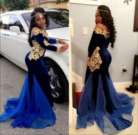 Wholesale Elegant Lace Evening Gowns - New Elegant Long Sleeves Prom Dresses Evening Wear 2K17 Royal Blue Velvet Gold Lace Floor Length Mermaid Formal Gowns