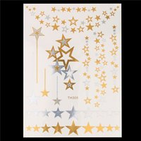 ingrosso oro del decalcomanie del tatuaggio-Wholesale-1 Sheet New Fashion Decal Oro Argento Star Flash Metallico Tatoo Donne Capelli Body Art HT308 Tatuaggio Temporaneo Gioielli Charm Sticker