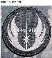 Wholesale Military Uniform Army Black - JEDI ORDER STAR WARS USA MILITARY TACTICAL ARMY MORALE Patch black white TV Movie Series Uniform sew on applique Hook and Loop