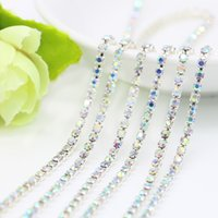 Wholesale Traditional Cupping - Closed Rhinestone Cup Chain With Crystal AB Rhinestone Silver Cup Base Chains For Jewelry Findings Making, SS6.5-SS12, 10Meters Pack