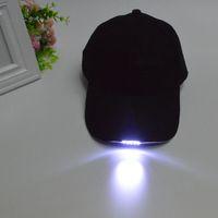 Wholesale Hunting Cap Flashlight - Free Shipping Black Color Lighted LED Built In 5 Flashlight Hat Baseball Cap Night Walking Hiking Fishing Hunting